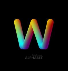 3d iridescent gradient letter w vector