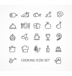 Cooking outline icon set vector