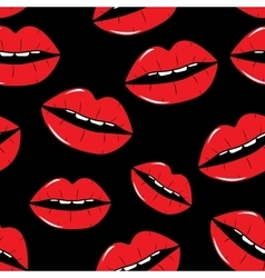 Lips seamless pattern background in pop art style vector