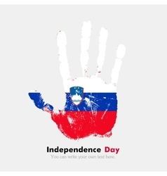 Handprint with the flag of slovenia in grunge vector