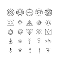 Alchemy Thin Line Icon Set vector image