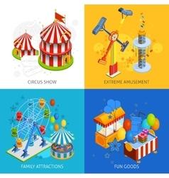 Amusement park 2x2 isometric design concept vector