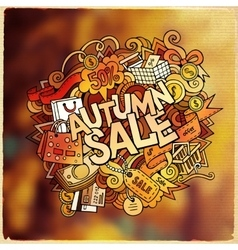 Autumn sale hand lettering and doodles elements vector