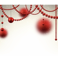 Background with red christmas baubles vector image vector image
