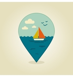 Boat with a sail pin map icon summer sun sea vector