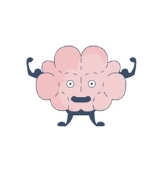 Brain showing strong biceps comic character vector