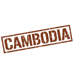 Cambodia brown square stamp vector