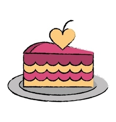 Cartoon delicious pink cake with love heart vector
