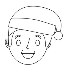 cartoon man adult wearing christmas hat vector image
