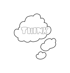 Cloud with think inscription icon outline style vector image