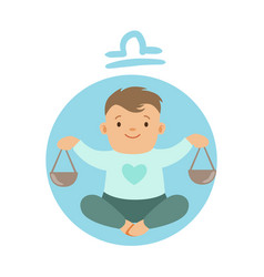 Cute little boy as libra astrological sign vector