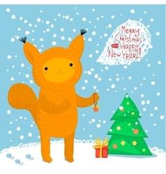Cute squirrel greeting card vector