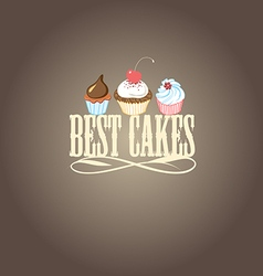 delicious cakes and desserts vector image