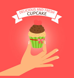 delicious cupcake on red background vector image vector image