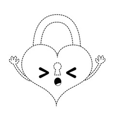 Dotted shape sleeping heart padlock kawaii vector