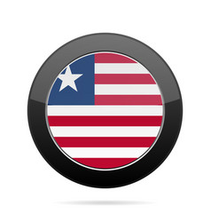 Flag of liberia shiny black round button vector