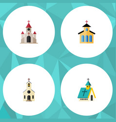 Flat icon christian set of building architecture vector