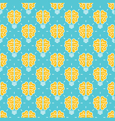 Idea pattern design - seamless pattern with brain vector
