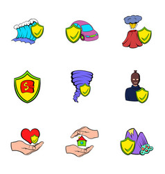 injury icons set cartoon style vector image vector image