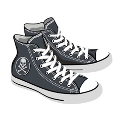isolated cartoon black sneakers vector image