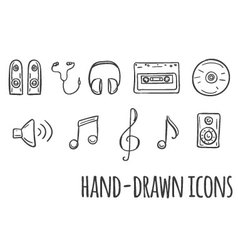 Music hand drawn icons vector image