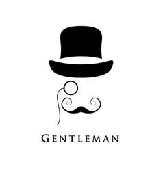 retro gentleman with hat an eyepiece vector image vector image