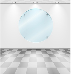 Room with round glass placeholder vector