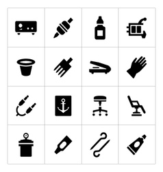 Set icons of tattoo equipment and accessories vector