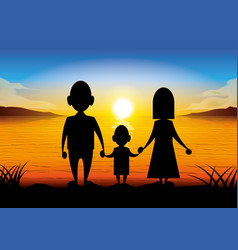 silhouette cartoon family standing at sunset vector image vector image