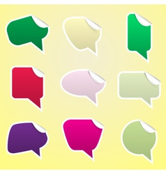 Simple color speak bubbles with symbols stickers vector