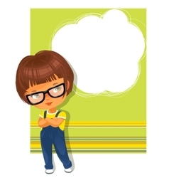 Smart schoolgirl wearing glasses text frame vector