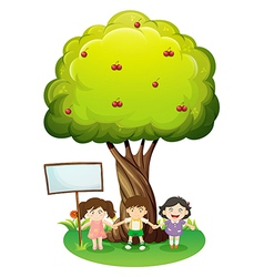 Three kids standing under the tree with an empty vector image vector image