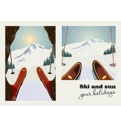 Vintage poster of two pictures skier vector