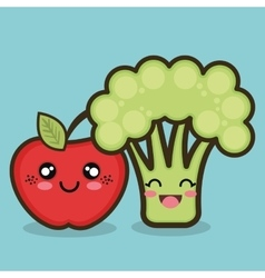 Food organic apple and broccoli cartoon design vector