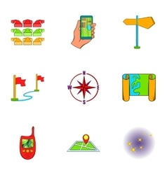 Find way icons set cartoon style vector
