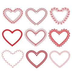 Set of vintage ornamental hearts shapes vector
