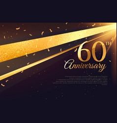 60th anniversary celebration card template vector
