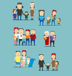 Family activities cartoon characters set vector