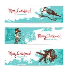 Set of Christmas Hand drawn banners vector image