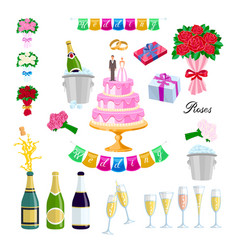 Set wedding cake with couple newlyweds glasses vector