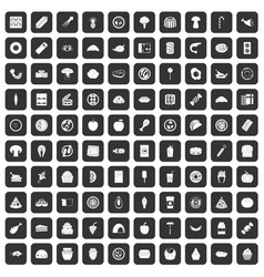 100 meal icons set black vector