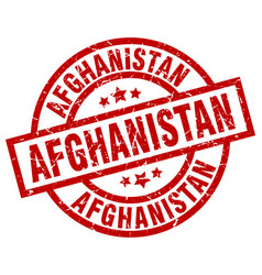 Afghanistan red round grunge stamp vector