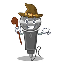 Witch microphone cartoon character design vector