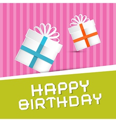 Retro happy birthday theme present boxes on vector
