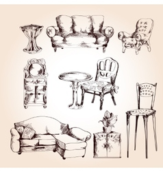 Furniture sketch set vector