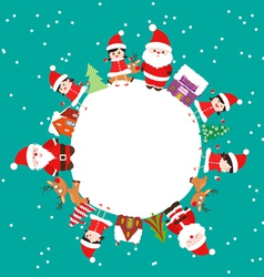 Merry christmas with kids and element on earth vector image