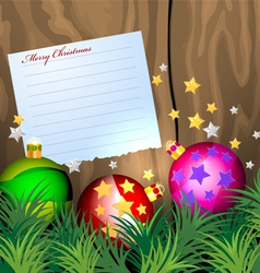 Notepaper with christmas balls vector