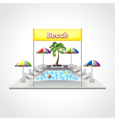 Beach with swimming pool isolated vector