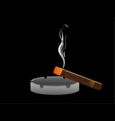 ashtray with cigar vector image