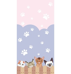 Cute cat seamless pattern background with fence vector